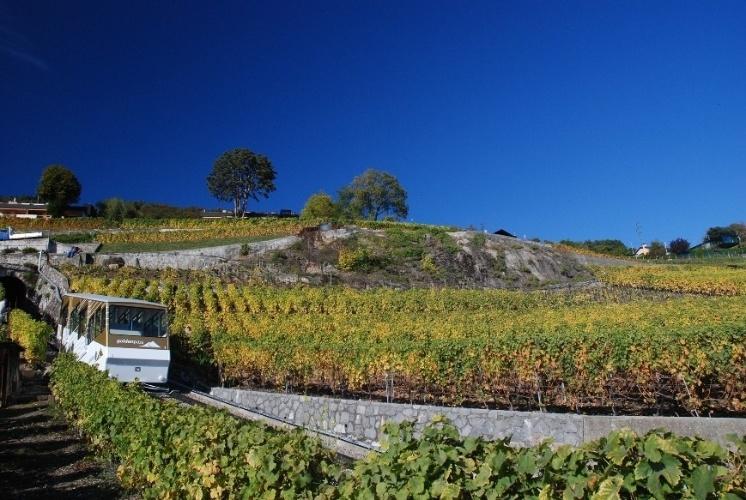 O funicular de Vevey, a 6 km de Montreux. cruza os vinhedos de Lavaux, Patrimônio Mundial da Humanidade, o vilarejo de Chardonne e as florestas no sopé do Mont Pèlerin