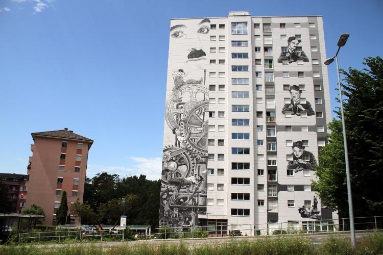 Uma das referências a Charles Chaplin mais impactante de Vevey, na Riviera de Montreux, é este projeto audacioso de revitalização de dois edifícios residenciais no bairro de Gilamont