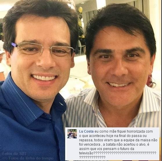 Celso Portiolli leva bronca de internauta em foto postada no Facebook do SBT. A montagem foi publicada pela página Carinho de Fã, comunidade do Facebook dedicada a mostrar o que os fãs dizem a seus ídolos nas redes sociais