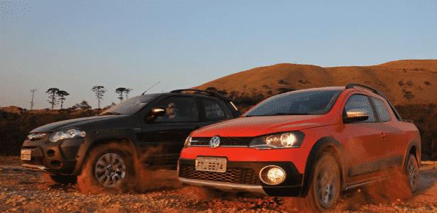 Fiat Strada Adventure Dualogic Cabine Dupla 2015 e Volkswagen Saveiro Cross Cabine Dupla 2015 - Murilo Góes/UOL - Murilo Góes/UOL