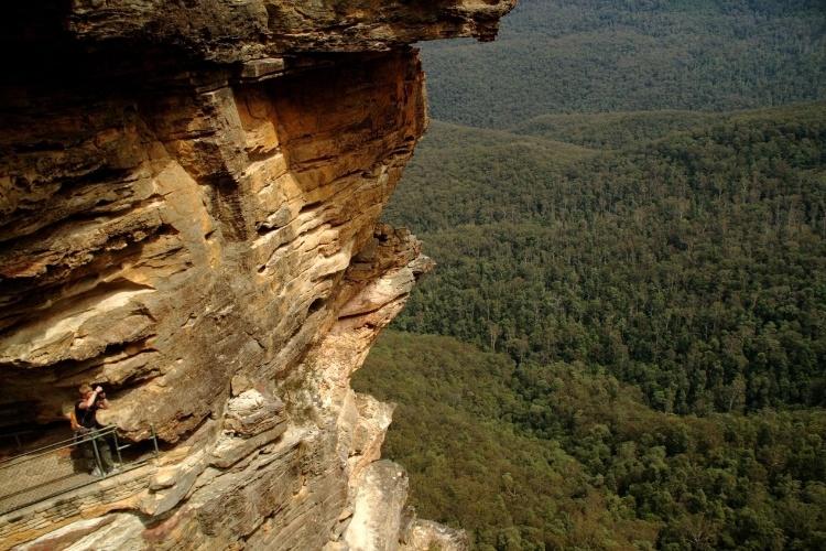 Região de Blue Mountains, na Austrália, vista do alto de um mirante encravado em uma das 'Três Irmãs', conjunto rochoso com mais de 900 metros de altura interligadas por uma ponte