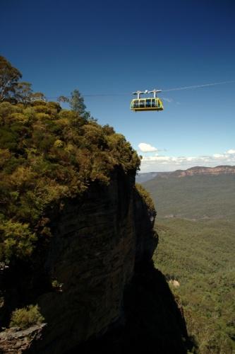 Vista do Skyway Katoomba, atração do parque Scenic World, na australiana Blue Mountains, que conta com bondinhos que cruzam o vale local a 720 metros de altura