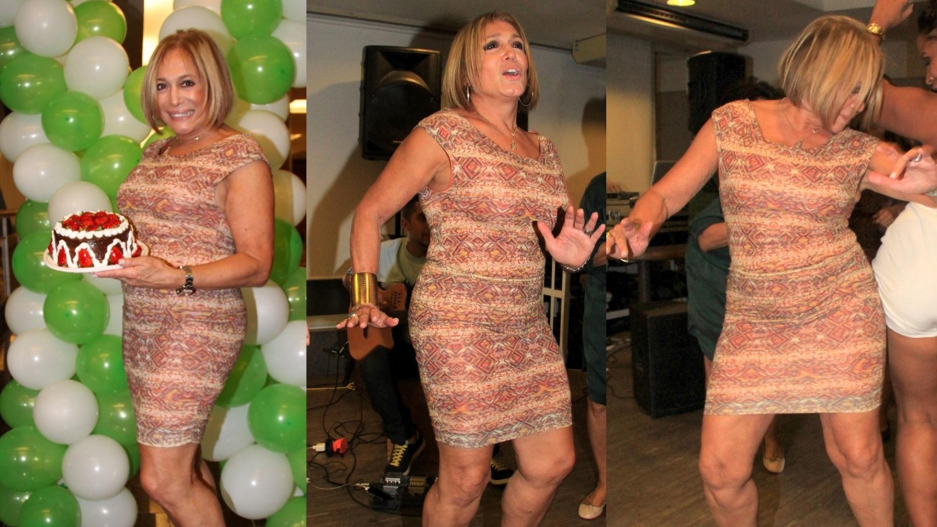 23.ago.2014- Susana Vieira comemora aniversário de 72 anos com festa surpresa em academia na Gávea, zona sul do Rio. Empolgada, a atriz dançou funk com outras alunas para festejar
