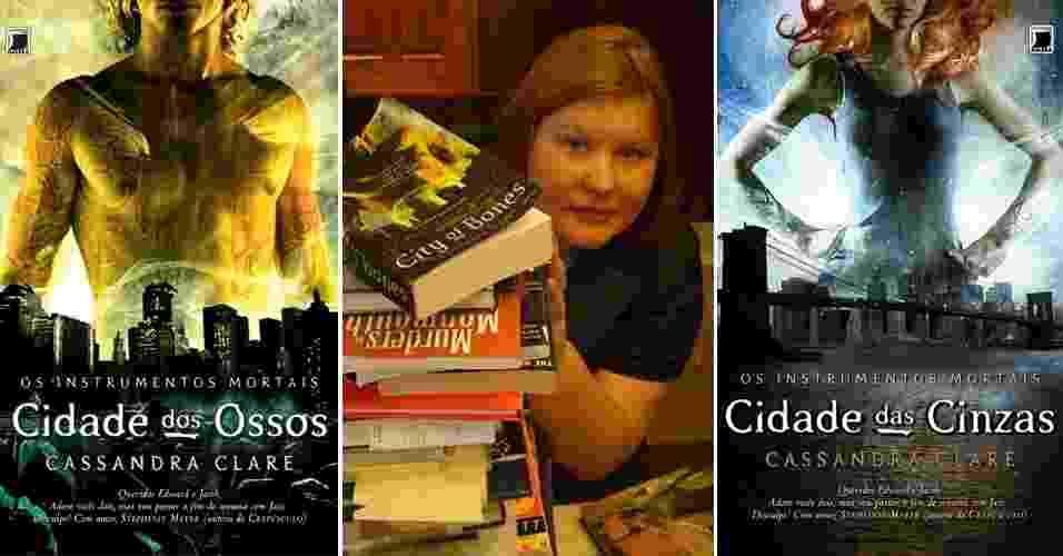 Cassandra Clare, que ficou famosa pela série ?Os Instrumentos Mortais?, composta por seis livros, posa ao lado de suas obras - Montagem/UOL, Reprodução, Theo Black/Divulgação