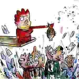 """17.mar.2012 - A política nacional sempre foi tema de charges do jovem João Montanaro. Aqui, a brincadeira é com a presidente Dilma Rousseff e a história do """"não basta dar o peixe, é preciso ensinar a pescar"""". - João Montanaro/Folhapress"""