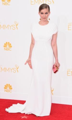 """25.ago.2014 - Anna Chlumsky prestigia a 66ª edição do Emmy Awards. O evento acontece no  Nokia Theatre, em Los Angeles. Ela concorre ao prêmio de melhor atriz coadjuvante por """"Veep"""""""