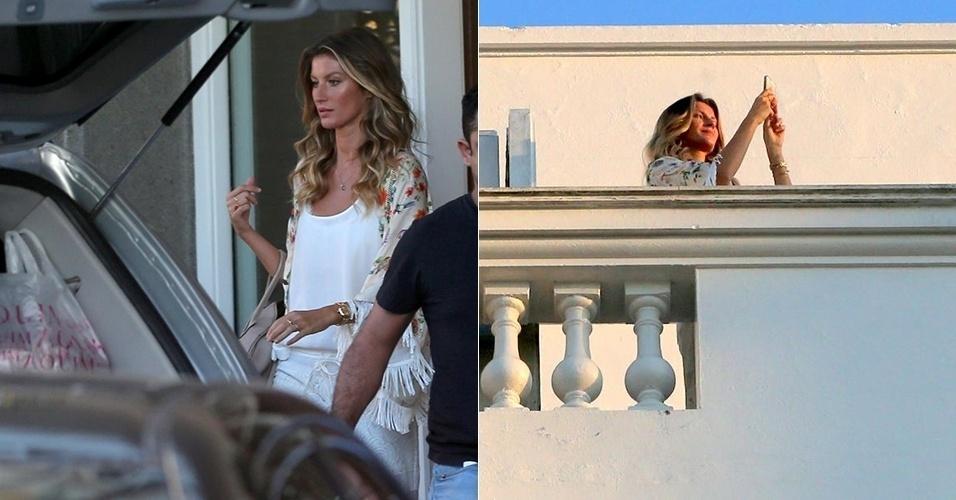 25.ago.2014 - Gisele Bündchen é vista na sacada do hotel onde está hospedada em Copacabana, na Zona Sul do Rio de Janeiro. A modelo participou do café da manhã com Ana Maria Braga no programa
