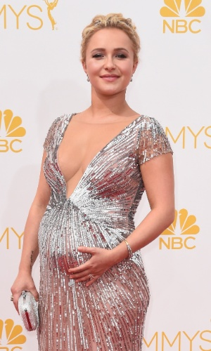 25.ago.2014 - Grávida, Hayden Panettiere prestigia a 66ª edição do Emmy Awards. O evento acontece no  Nokia Theatre, em Los Angeles