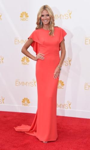25.ago.2014 - Heidi Klum prestigia a 66ª edição do Emmy Awards. O evento acontece no  Nokia Theatre, em Los Angeles
