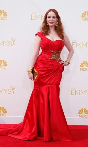"""25.ago.2014 - Indicada ao prêmio de melhor atriz coadjuvante por """"Mad Men"""",  Christina Hendricks prestigia a 66ª edição do Emmy Awards. O evento acontece no Nokia Theatre, em Los Angeles"""