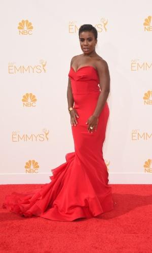 """25.ago.2014 -  Indicada ao prêmio de melhor atriz convidada, Uzo Aduba, de """"Orange Is The New Black"""", prestigia a 66ª edição do Emmy Awards. O evento acontece no Nokia Theatre, em Los Angeles"""