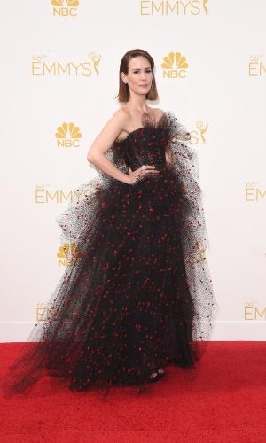"""25.ago.2014 - Indicada ao prêmio de melhor atriz por """"America Horror Story: Coven"""",  Sarah Pulson prestigia a 66ª edição do Emmy Awards. O evento acontece no Nokia Theatre, em Los Angeles"""