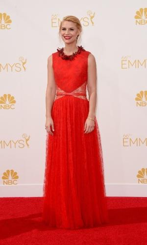 """25.ago.2014 - Indicada ao prêmio de melhor atriz por """"Homeland"""",  Claire Danes prestigia a 66ª edição do Emmy Awards. O evento acontece no Nokia Theatre, em Los Angeles"""