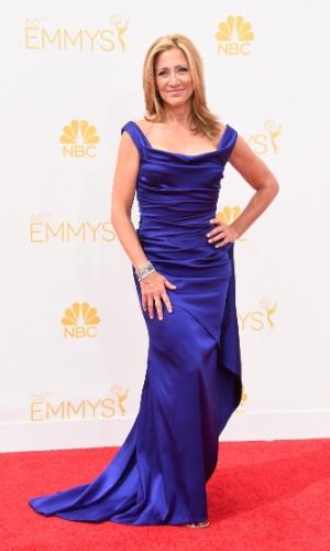 """25.ago.2014 - Indicada ao prêmio de melhor atriz por """"Nurse Jackie"""", Edie Falco prestigia a 66ª edição do Emmy Awards. O evento acontece no Nokia Theatre, em Los Angeles"""