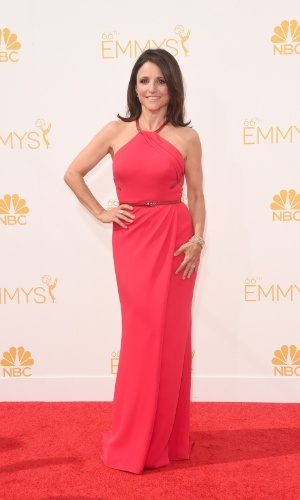 """25.ago.2014 - Indicada ao prêmio de melhor atriz por """"Veep"""", Julia Louis-Dreyfus prestigia a 66ª edição do Emmy Awards. O evento acontece no Nokia Theatre, em Los Angeles"""