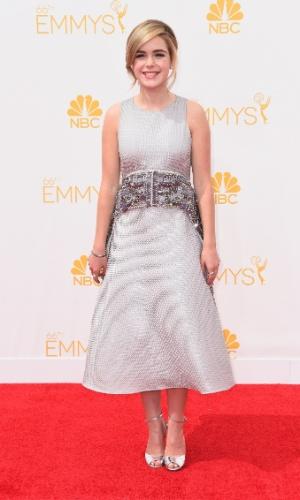 25.ago.2014 - Kiernan Shipka prestigia a 66ª edição do Emmy Awards. O evento acontece no  Nokia Theatre, em Los Angeles