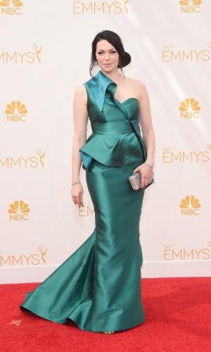 """25.ago.2014 -  Laura Prepon, de """"Orange Is The New Black"""", prestigia a 66ª edição do Emmy Awards. O evento acontece no Nokia Theatre, em Los Angeles"""