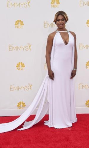 """25.ago.2014 - Laverne Cox, de """"Orange Is The New Black"""", prestigia a 66ª edição do Emmy Awards. O evento acontece no Nokia Theatre, em Los Angeles. Ela concorre ao prêmio de melhor atriz convidada em um série cômica"""