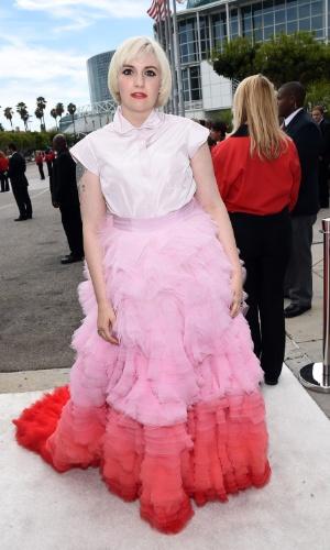 """25.ago.2014 - Lena Dunham, de """"Girls"""", prestigia a 66ª edição do Emmy Awards. O evento acontece no Nokia Theatre, em Los Angeles. Ela concorre ao prêmio de melhor atriz por série cômica"""