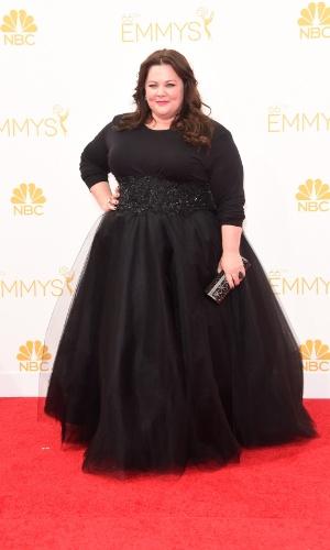 """25.ago.2014 -  Melissa McCarthy prestigia a 66ª edição do Emmy Awards. O evento acontece no Nokia Theatre, em Los Angeles. Ela está indicada ao prêmio de melhor atriz convidada por """"Saturdat Night Live"""""""