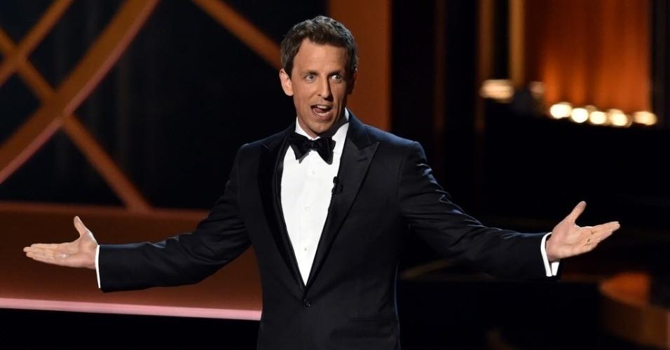 25.ago.2014 - O comediante Seth Meyers é o apresentador da 66ª edição do Emmy Awards, que acontece em Los Angeles