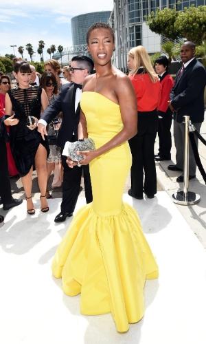 """25.ago.2014 - Samira Wiley, de """"Orange Is The New Black"""", prestigia a 66ª edição do Emmy Awards. O evento acontece no Nokia Theatre, em Los Angeles"""