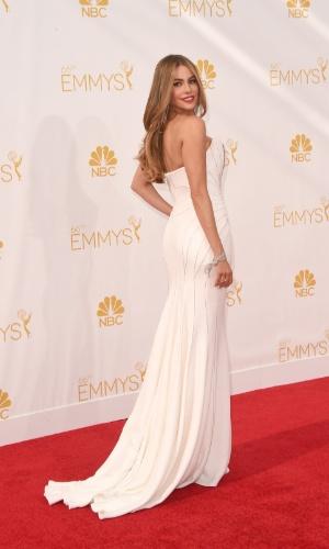 """25.ago.2014 - Sofia Vergara, de """"Modern Family"""", prestigia a 66ª edição do Emmy Awards. O evento acontece no Nokia Theatre, em Los Angeles"""