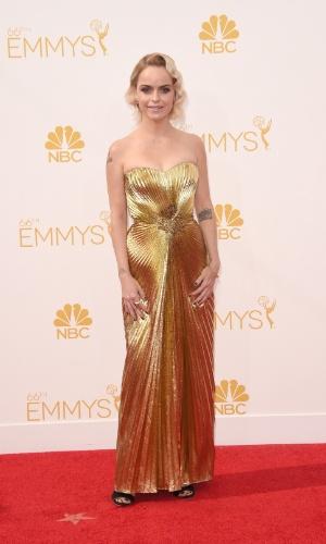 """25.ago.2014 - Taryn Manning, de """"Orange Is The New Black"""", prestigia a 66ª edição do Emmy Awards. O evento acontece no Nokia Theatre, em Los Angeles"""