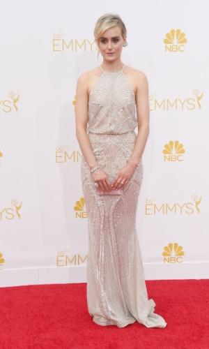 """25.ago.2014 - Taylor Schilling, de """"Orange Is The New Black"""", prestigia a 66ª edição do Emmy Awards. O evento acontece no Nokia Theatre, em Los Angeles. Ela concorre ao prêmio de melhor atriz por série cômica"""