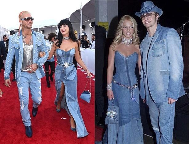 No VMA, Katy Perry e o rapper Riff Raff fizeram uma homenagem ao look de Britney Spears e Justin Timberlake no American Music Awards de 2001