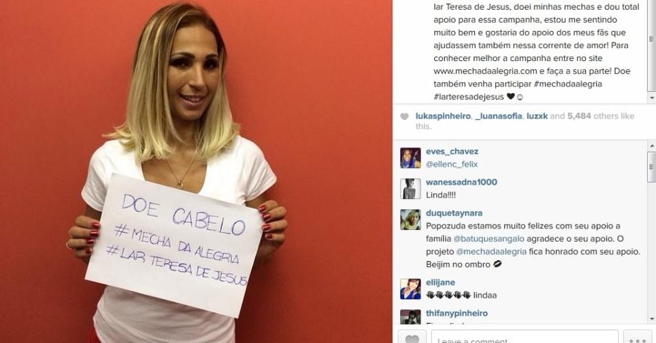 26.ago.2014 - Valesca Popozuda mostra novo corte de cabelo no Instagram