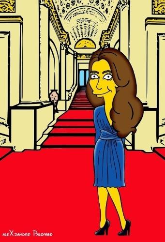 """25. ago.2014 - Kate Middleton aparecem como personagens de """"Os Simpsons"""" em ilustraçãoo criada pelo italiano AleXsandro Palombo. Na imagem, ela aparece com o famoso vestido azul que usou para anunciar seu noivado com o Príncipe William"""