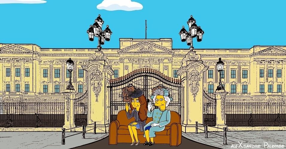"""25. ago.2014 - Kate Middleton e a Rainha Elizabeth 2ª aparecem como personagens de """"Os Simpsons"""" em ilustrações criadas pelo italiano AleXsandro Palombo"""