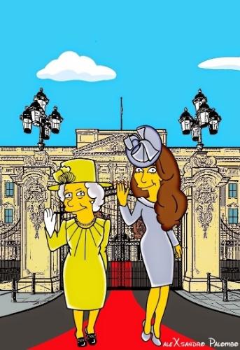 """25.ago.2014 - Artista italiano AleXsandro Palombo transforma a Duquesa Kate Middleton e a Rainha Elizabeth em personagens da animação """"Os Simpsons"""". Na ilustração, as duas aparecem sentadas no Palácio de Buckhingham"""