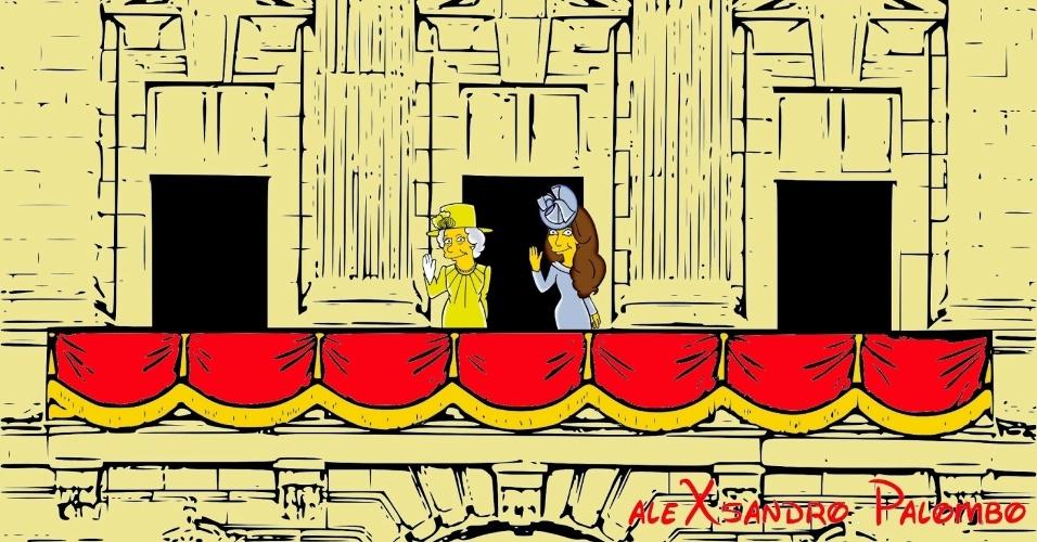 """25.ago.2014 - Transformadas em personagens de """"Os Simpson"""", Kate Middleton e a Rainha Elizabeth 2ª acenam na sacada do Palácio de Buckhingham em ilustração criada pelo artista italiano AleXsandro Palombo"""