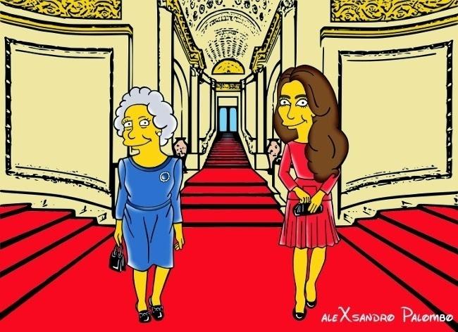 """25.ago.2014 - Transformadas em personagens de """"Os Simpson"""", Kate Middleton e a Rainha Elizabeth 2ª aparecem no interior do Palácio de Buckhingham em ilustração criada pelo artista italiano AleXsandro Palombo"""
