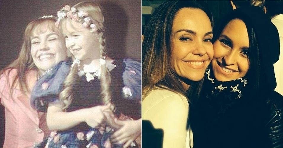 """26.ago.2014 - As atrizes Carla Diaz e Flávia Monteiro, que atuaram em """"Chiquititas"""" juntas posam juntas para foto"""
