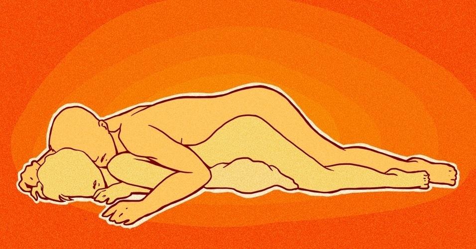 A mulher deve se deitar de barriga para baixo sobre um ou dois travesseiros, acomodados na altura do quadril. Dessa maneira, o homem, deitado sobre ela, poderá penetrá-la por trás com mais facilidade. A mudança no ângulo de penetração, conseguida graças ao uso dos travesseiros, também resulta em mais prazer para o casal