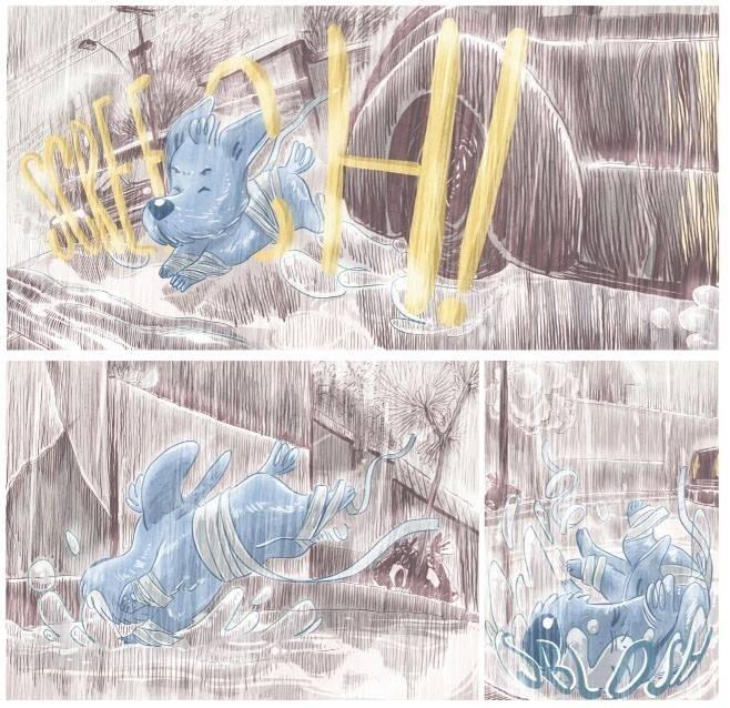Bidu, por pouco, não é atropelado em meio à tempestade