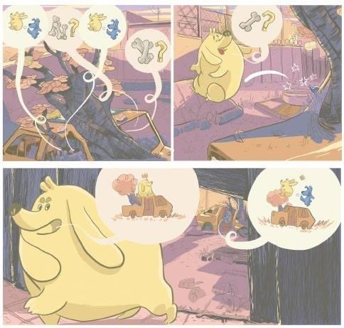 """Em """"Bidu - Caminhos"""", conversas entre os cães são mostradas em balões com onomatopeias."""