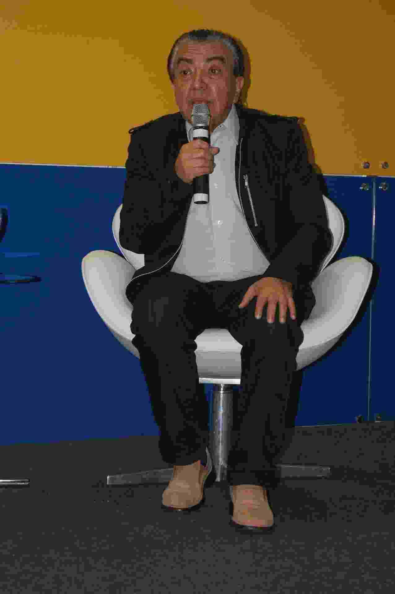 """30.ago.2014 - Maurício de Sousa, pai da """"Turma da Mônica"""", fala sobre seu trabalho na 23ª Bienal Internacional do Livro de São Paulo, no Anhembi - Rdorigo Casarin/UOL"""