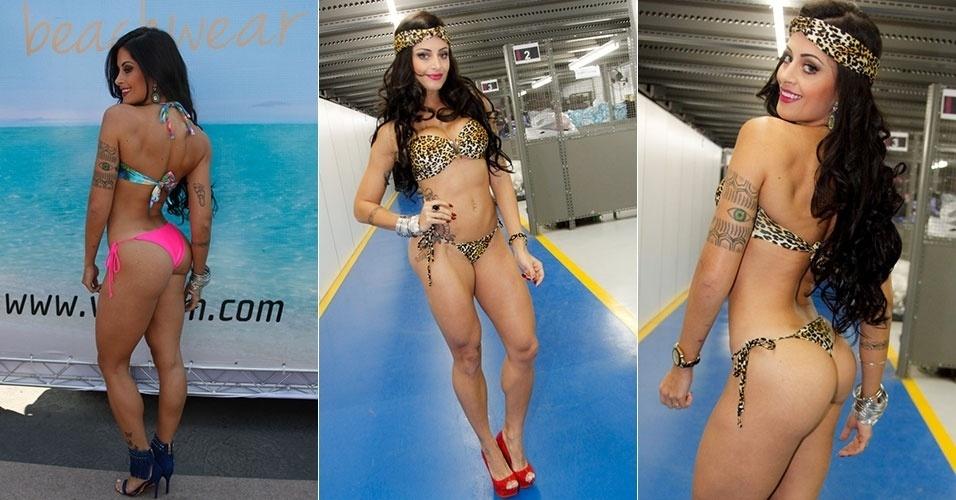 31.ago.2014 - Depois de ser destituída do cargo de rainha de bateria da Caprichosos de Pilares, a bailarina do Faustão Aline Riscado desfile de fio dental em São Paulo