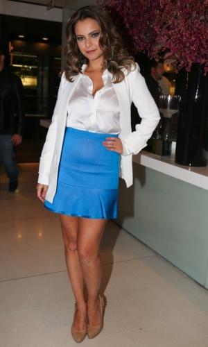 """1.set.2014 - Milena Toscano marca presença na festa da revista """"Nova"""" promovida pelo cabeleireiro Marco Antonio di Biaggi, em São Paulo"""