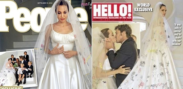 Revistas estampam fotos do casamento de Angelina Jolie e Brad Pitt