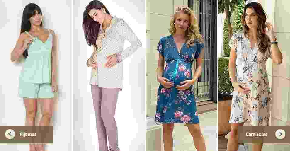 tela do álbum de Gravidez e Filhos com camisolas e pijamas para usar na maternidade - Montagem/Arte UOL