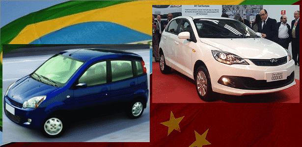Muita coisa mudou do pioneiro Effa100 (de 2008, à esq.) ao Celer nacionalizado (2014) - Arte UOL Carros