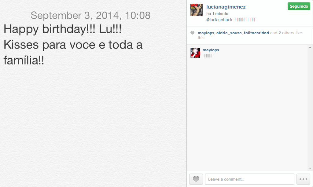 3.set.2014 - Com poucas palavras, Luciana Gimenez declara seu carinho pelo amigo Luciano Huck no Instagram nesta quarta-feira