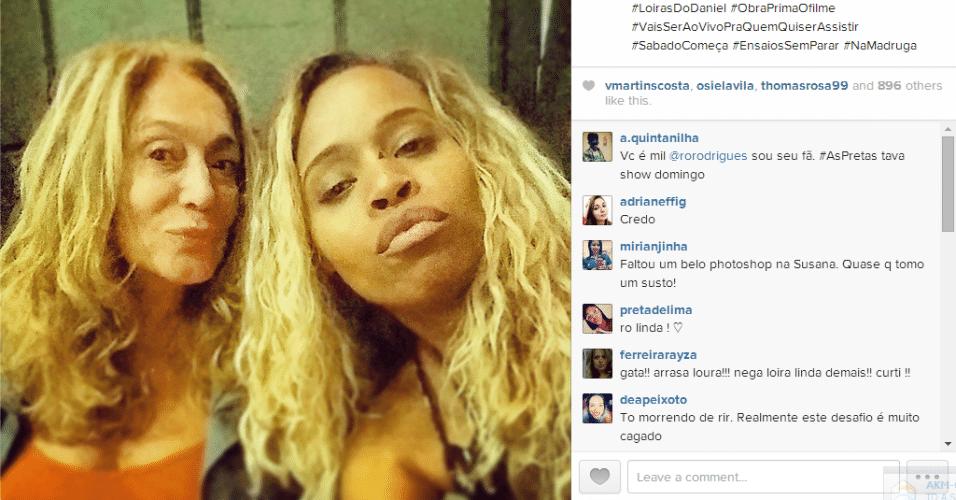 3.set.2014 - Susana Vieira aparece sem maquiagem em foto postada pela atriz Roberta Rodrigues no Instagram na madrugada desta quarta-feira
