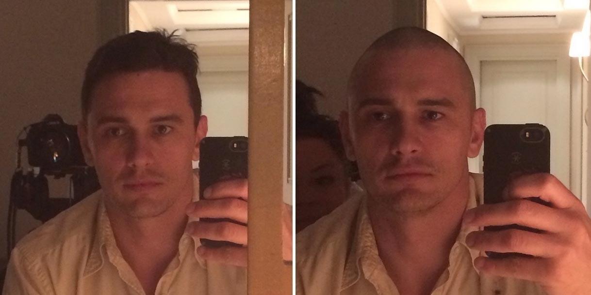 3.set.2014 - James Franco radicalizou e raspou 100% da cabeça para se dedicar ao seu novo filme