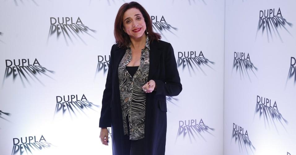 """4.set.2014 - Marisa Orth marca presença na coletiva de imprensa do seriado """"Dupla Identidade"""""""